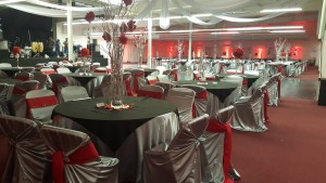 One of our ballrooms ready for an legant Ruby-themed Quinceañera